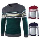 New Men Geometric Pirnt Sweaters Long Sleeve Cosy Outwear Kintted Shirt Sweater