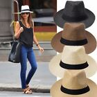 Men Women Fedora Panama Wide Brim Trilby Straw Cap Sun Hat Beach Summer Sunhat