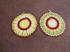 Beautiful Collectible Handmade Crocheted Pot Holder Set 2 Red Lime Yellow Off Wh