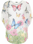Womens Plus Butterfly Net Curved Hem Top Ladies Printed Strappy Baggy 16-22