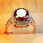 Rose Gold Plated Ruby Red Made with Swarovski Crystal Garnet Engagement Ring R96