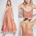 2017 Embroidery Spaghetti Strap Backless Hippie Boho Party Long Beach Maxi Dress