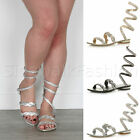 WOMENS LADIES FLAT DIAMANTE GEMS SPIRAL PARTY PROM ANKLE STRAP SANDALS SIZE