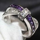 Size 6-10 Jewelry Purple Sapphire Wedding Ring Women's Silver Special Gift