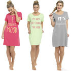 Ladies Short Sleeve Nightie Nightwear Print NightDress Night Tee