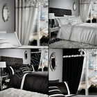 FULLY LINED EYELET GLAMOROUS DIAMANTE RING TOP READY MADE CURTAINS BLACK WHITE