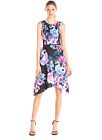 Adrianna Papell Black Multi Floral Scuba Fit & Flare Social Cocktail Dress NEW