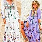 Women Ethnic Embroidery Floral Boho Hippie Beach Holiday Maxi Dress Bloggers Fav
