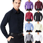 Mens Boys Work Formal Dress Shirts Slim Fit Long Sleeve T Shirt Coat Tops S~XL
