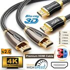 PREMIUM BRAIDED HDMI Cable v2.0 HD High Speed 4K 2160p 3D Lead 1m/1.5m/2m/3m/5m