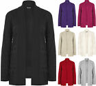 New Plus Size Womens Knitted Long Sleeve Plain Open Top Ladies Cardigan 16-22