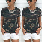 Fashion Women Summer Camouflage Vest Short Sleeve Shirt Blouse Tank Tops T-Shirt