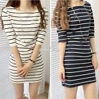 Womens Ladies Striped Scoop Neck Casual Boho Prom Party Evening Mini S0BZ01