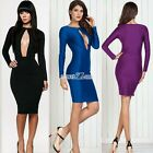 Women Summer Sexy Slim Fit Hollow Outfit Long Sleeve Bandage Club Pencil Dress01