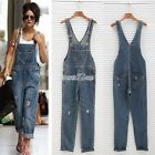 Womens Ladies Baggy Denim Jeans Full Length Pinafore Dungaree Overall S0BZ