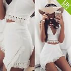 Fashion Women Sleeveless Top and Short Pants 2 Pieces Set Summer Beach Style