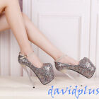 Sexy Bling Bling Women Lady Super High Heel Pump Shoes 19cm Ankle Strappy Shoes