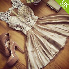 Women Floral Lace Sleeveless Hole Front Club Party Cocktail Evening Dress