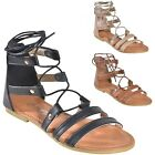 Women's Lace Up Ankle Tie Back Zip Open Toe Strappy Roman Gladiator Flat Sandals