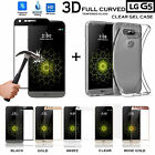 Ultra Clear TPU Gel Case +3D Curved Tempered Glass Screen Protector for LG G5 SE