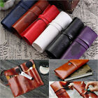 Student Fashion Canvas PU Leather Pencil Case Simple Travel Makeup Holder Bags