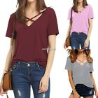 New Summer T Shirt Women Short Sleeve V Neck Bandage Casual T Shirt Lady Tops HQ