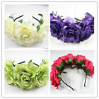 Rose Flower Crown Wedding Women Headband Hairband Floral Garland Headpiece