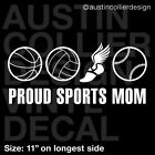 "11"" SPORTS MOM Vinyl Decal Car Sticker - Basketball Volleyball Track Softball"