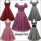 dress190 Check 50s 60s Rockabilly Pinup Swing Evening Prom Ball Party Dress 8-26