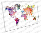 Print on Canvas watercolour map of the world Europe Asia America Africa