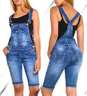 NEW DUNGAREE DENIM SHORTS Womens Size 6 8 10 12 14 Ladies DUNGAREES Pedal Pusher