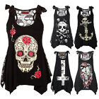 Women Fashion Skull Print Loose Lace Patchwork Casual Sleeveless Tops Shirt New