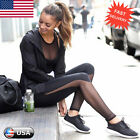 Womens Fitness Leggings High Waist Mesh Patchwork Leggings Skinny Push Up Pants