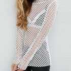 Top with Long Sleeve in Oversized Mesh sexy White Fashion 97K