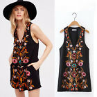 2017 Women Ethnic Embroidered Floral Boho Hippie Vest Dress Black Bloggers Fav