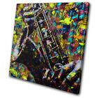 Saxophone Colourful Pop Paint Musical SINGLE CANVAS WALL ART Picture Print