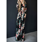 Women Floral Print Long Sleeve Boho Dress Lady Evening Party Long Maxi Dress USA