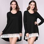 Fashion Rainbow Color 3/4 Sleeve Round Neck Button Side Stripes Casual Dress