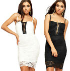 Womens Strappy Padded Bustier Party Dress Ladies Tie Lace Lined Sleeveless 6-12