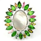 Sterlng Silver 925 Mother of Pearl, Chrome Diopside & Tourmaline Ring O US 7.25