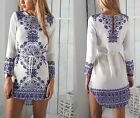 Summer Women Clothes Blue and White Porcelain Pattern Long Sleeve O-neck Dress