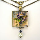"PANSY PANSIES FLOWER ""VINTAGE CHARM"" BRONZE OR SILVER ART GLASS PENDANT NECKLACE"