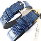 14mm 1 PIECE CABOUCHON WATCH STRAP.  BLUE LIZARD GRAIN LEATHER GOLD or SILVER