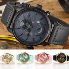 Fashion Men Women's Stainless Steel Leather Bracelet Analog Quartz Wrist Watch