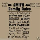 Family Rules Custom Wall Decal Insert Your Family Name Vinyl Wall Decal BIG!