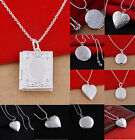Women Silver Picture Locket Hollow Heart Photo Pendant Chain Necklace Openable A