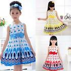 Summer Girls Princess Dress Kids Baby Party Wedding Pageant Dresses Clothes 3-7Y