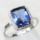 AWESOME 3 CT EMERALD CUT TANZANITE 925 STERLING SILVER RING SIZE 5	-10