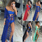 One Size Women's Summer Beach Lace Hollow Out Solid Wrap Belt Cover-up Swimwear