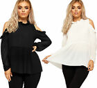 Womens Pleated Frill Chiffon Top Ladies Cut Out Cold Shoulder Long Sleeve 8-14